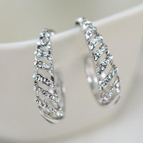 Pair of Diamante Openwork Earrings - SILVER