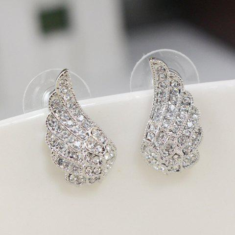 Pair of Exquisite Diamante Wing Pattern Stud Earrings For Women - SILVER