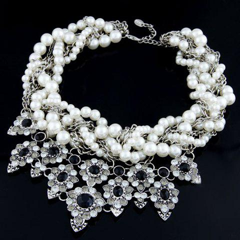 Chic Fashion Rhinestone Beads Flower Pendant Necklace For Women - AS THE PICTURE