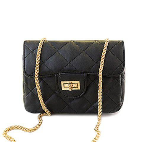 Stylish Candy Color and Checked Design Crossbody Bag For Women - BLACK