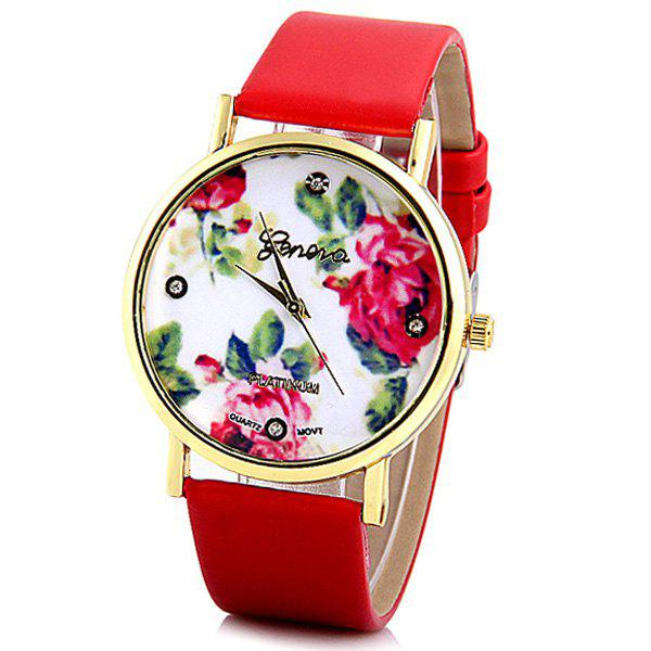Geneva Luxury Quartz Watch with Diamonds Golden Plate Analog Indicate Leather Watch Band Rose Pattern for Women