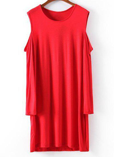 Solid Color Off-The-Shoulder Scoop Collar Long Sleeve Casual Style Women's Dress - S RED