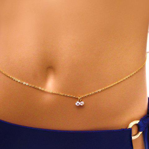 Exquisite Rhinestone Pendant Belly Chain For Women - GOLDEN