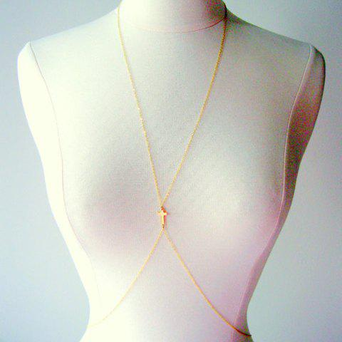 Crucifix Decorated Body Chain - GOLDEN