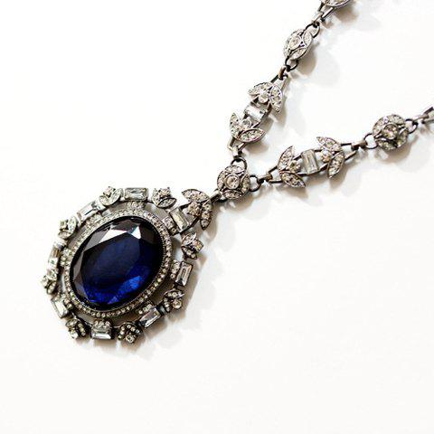 Gorgeous Rhinestone Ellipse Pendant Necklace For Women - AS THE PICTURE