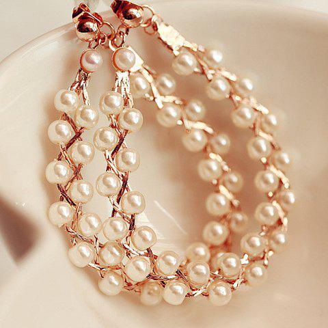 Pair of Fashion Pearl Embellished Earrings For Women