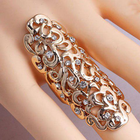 Exaggerated Diamante Openwork Flower Pattern Ring For Women