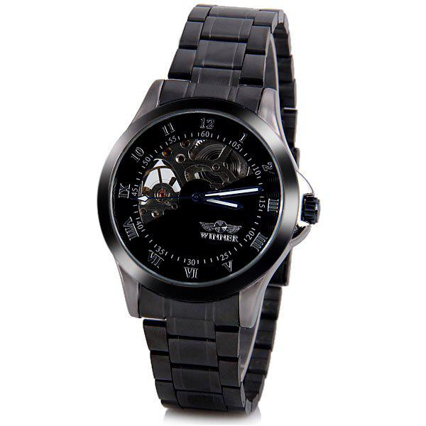Winner Luxury Water Resist Mechanical Watch with Analog Round Dial Steel Watchband for Men - BLACK
