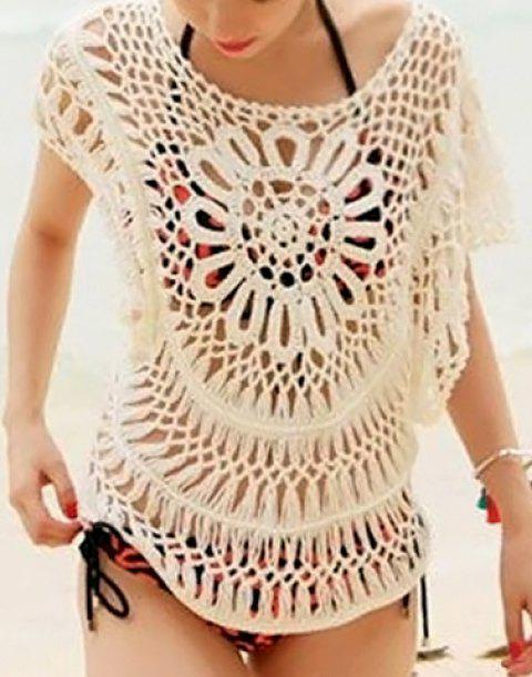 Cute Scoop Neck Openwork Batwing Sleeve Smock For Women - WHITE ONE SIZE