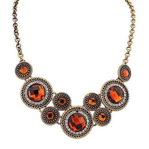 Chic Retro Rhinestone Decorated Round Pendant Necklace For Women - COLOR ASSORTED