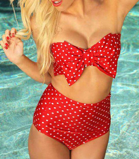 Sexy Bowknot Embellished Polka Dot Two-Piece Swimsuit For Women - RED M