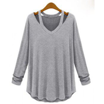 Cut Out Solid Color Simple Style V-Neck Long Sleeve Women's Blouse - LIGHT GRAY LIGHT GRAY
