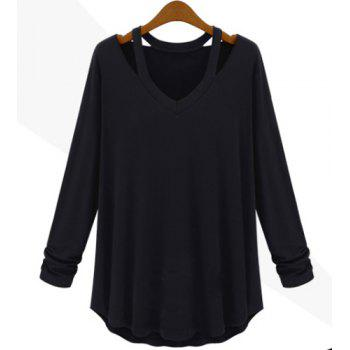 Cut Out Solid Color Simple Style V-Neck Long Sleeve Women's Blouse - BLACK BLACK