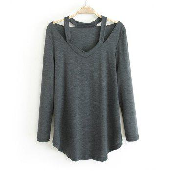 Cut Out Solid Color Simple Style V-Neck Long Sleeve Women's Blouse