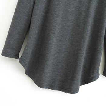 Cut Out Solid Color Simple Style V-Neck Long Sleeve Women's Blouse - DEEP GRAY L