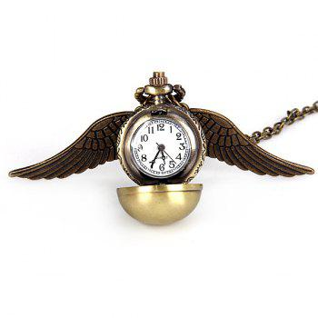 Luxury Design Harry Potter Angel Wing Ball Quartz Pocket Watch Pendant Necklace with Analog - BRONZE-COLORED BRONZE COLORED