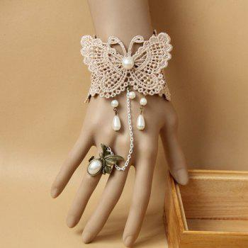 Lace Butterfly Pattern Pearl Pendant Bracelet With a Ring