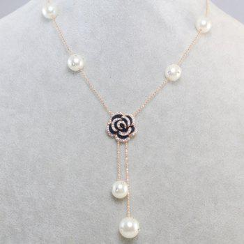 Chic Diamante Flower Pendant Faux Pearl Decorated Necklace For Women
