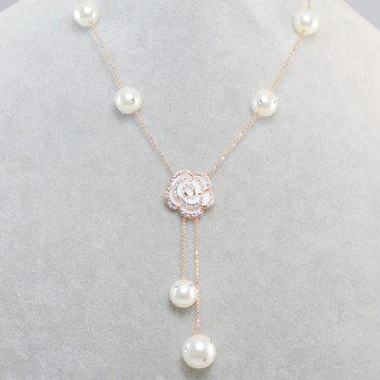 Chic Diamante Flower Pendant Faux Pearl Decorated Necklace For Women - COLOR ASSORTED