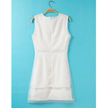 Solid Color Chiffon Splicing Ladylike Style Scoop Collar Sleeveless Women's Dress - WHITE M