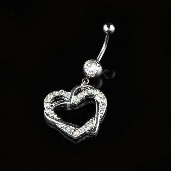 Exquisite Diamante Hollow Out Heart Pendant Belly Button Ring For Women