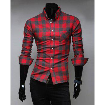 Fashion Style Turn-down Collar Full Plaid Print Long Sleeves Polyester Men's Shirt - RED RED