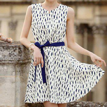 Ladylike Print Design Sleeveless V-Neck Wide Hem Pullover Dress