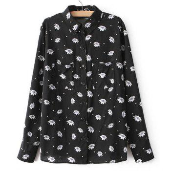 Floral Print Polka Dot Turn-Down Collar Long Sleeve Stylish Women's Shirt