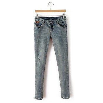Broken Hole Frayed Low Waist Narrow Feet Simple Style Women's Jeans