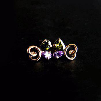 Pair of Rhinestone Openwork Butterfly Stud Earrings - AS THE PICTURE