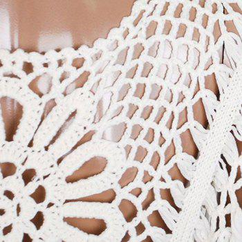 Cute Scoop Neck Openwork Batwing Sleeve Smock For Women - WHITE WHITE