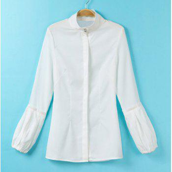 Solid Color Simple Style Stand Collar Lantern Sleeve Women's Blouse - WHITE S