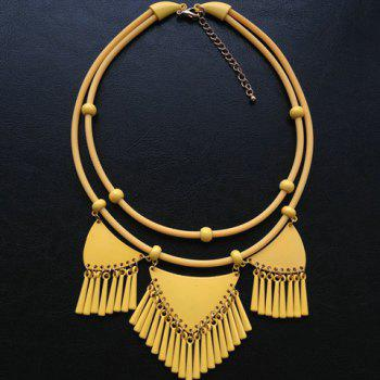 Fashion Tassels Decorated Triangle Pendant Double-Layer Necklace For Women - YELLOW