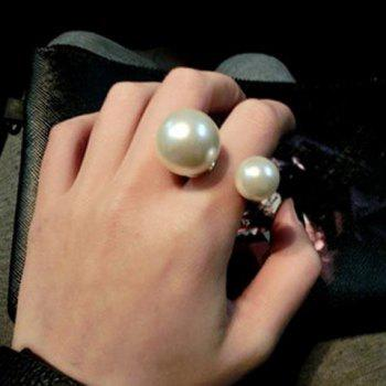 Faux Pearl Decorated Cuff Ring