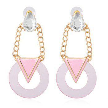 Pair of Geometric Pendant Faux Crystal Decorated Drop Earrings