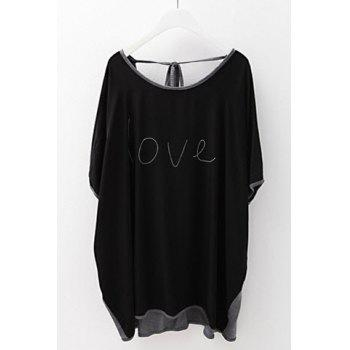 Stylish Scoop Neck Color Block Dolman Sleeve T-Shirt For Women - BLACK BLACK