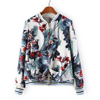 Floral Print Stand Collar Long Sleeve Trendy Style Women's Jacket