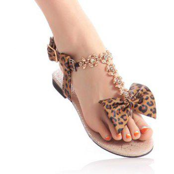 Bow and Leopard Print Sandals - BROWN 39