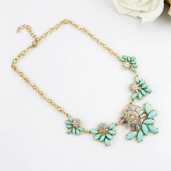 Characteristic Candy Color Faux Gem Embellished Openwork Leaf Pattern Pendant Necklace For Women - AS THE PICTURE