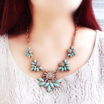 Characteristic Candy Color Faux Gem Embellished Openwork Leaf Pattern Pendant Necklace For Women