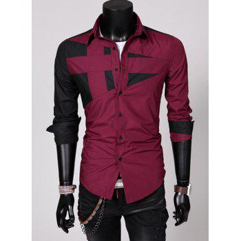 Fashion Hit Color Irregular Splicing Shirt Collar Long Sleeve Slimming Polyester Shirt For Men - RED 3XL