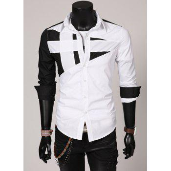 Fashion Hit Color Irregular Splicing Shirt Collar Long Sleeve Slimming Polyester Shirt For Men - WHITE 3XL