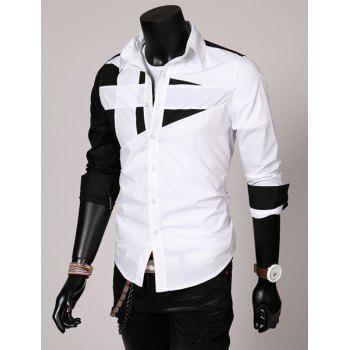 Fashion Hit Color Irregular Splicing Shirt Collar Long Sleeve Slimming Polyester Shirt For Men - 3XL 3XL