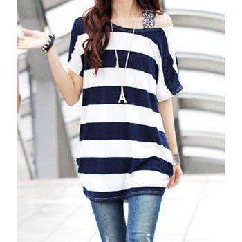 Stylish Scoop Neck Short Sleeve Striped  T-Shirt For Women - DEEP BLUE ONE SIZE