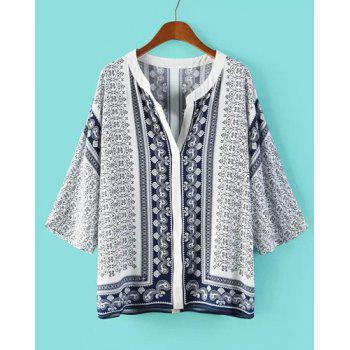 Retro Print V-Neck 3/4 Sleeve Casual Style Women's Blouse