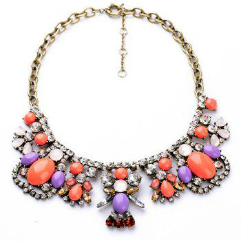 Unique Multicolor Faux Gem Decorated Irregular Pendant Necklace For Women