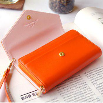 Sweet Solid Color and Crown Design Clutch Wallet For Women -  ORANGE