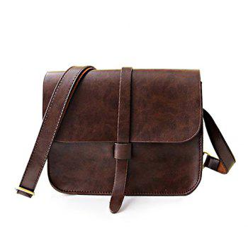 Vintage Style Solid Color and PU Leather Design Crossbody Bag For Women