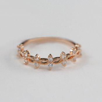 Cute Rhinestone Round Solid Color Ring For Women