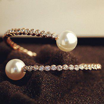 Rhinestoned Faux Pearl Bracelet - AS THE PICTURE